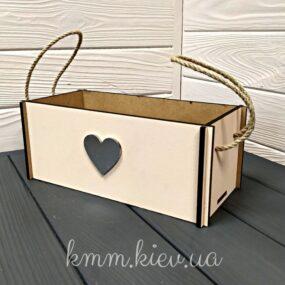 Коробка деревянная с сердцем 12х25