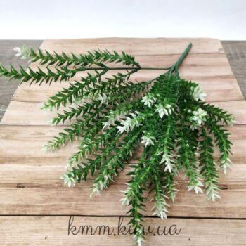 Декоративная веточка-добавка зеленая с белым