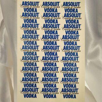 Наклейка этикетка на бутылку Absolut