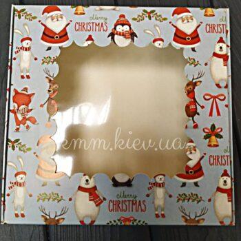 Коробка Новогодняя Санта с окном 150х150х50мм