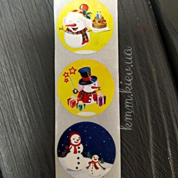 Наклейка Снеговик Новый год 10шт