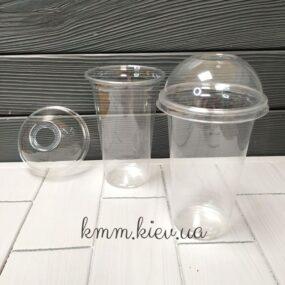 Стакан пластиковый с купольной крышкой с отверстием