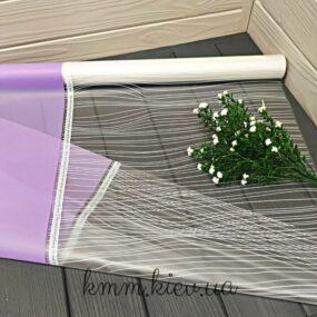 Пленка для цветов матовая с прозрачным окном и полоской 1м Лаванда