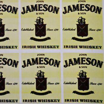 Наклейка этикетка на бутылку Jameson