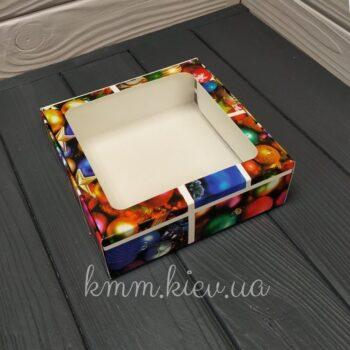 Коробка Новогодние игрушки с окном 150х150х50мм