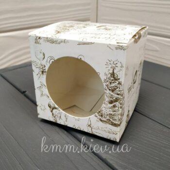 Коробка Merry Christmas Мери Кристмас с окном золото 90*90*90