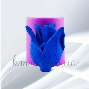 Силиконовая форма люкс 3D Роза Даллас полураскрытый бутон