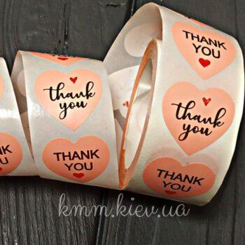 Наклейка Thank you розовая 10шт