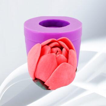 Силиконовая форма Люкс 3D Лотос розовый закрытый бутон